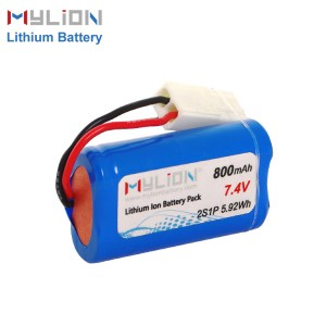 7.4V800mAh 14500 Lithium ion Battery Pack