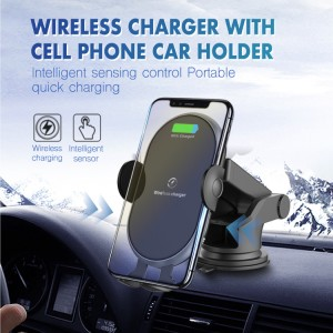smart wireless fast car charger with cell phone bracket holder mount