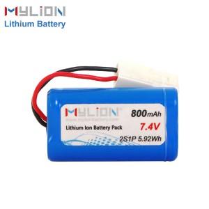 7.4V800mAh 14500 Lithium ion Battery Pack